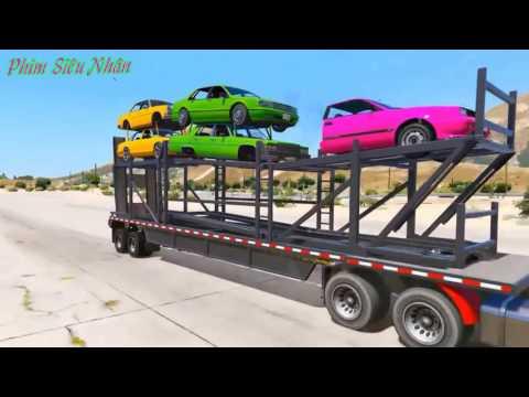 Hoạt hình người nhện đua xe - Ô tô đồ chơi trẻ em - Vận chuyển xe hơi