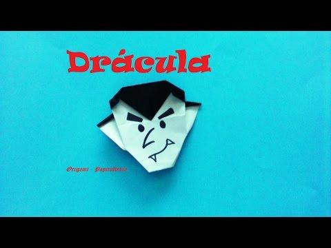 Origami  - Papiroflexia. Cabeza del Conde Drácula, fácil para Halloween