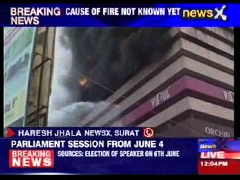 Massive fire at textile market in Surat Gujrat