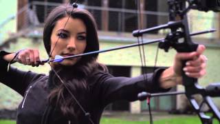 2014 Miss USA Competition: MISS NEW YORK Candace Kendall Praticing Archery