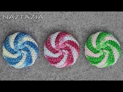 Learn How to Crochet - Spiral Scrubbie Tutorial (Dishcloth Washcloth Tribble Tawashi Scrubby), Please be sure to subscribe to Naztazia's channel! This is a how-to video for crocheting spiral scrubbies. Pattern from Judith Prindle's http://crochetpatter...