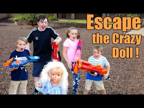 Escape the Crazy Doll! Sneak Attack Nerf Adventure with Ethan and Cole, Extreme Toys TV!