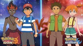 Pokemon Sun and Moon: Ash and Kiawe Vs Brock and Misty