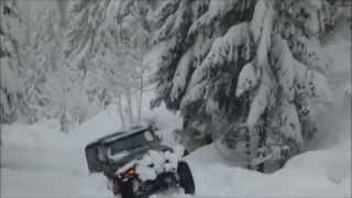 Deep Snow Trail Scouting on a Jeep Wrangler videos