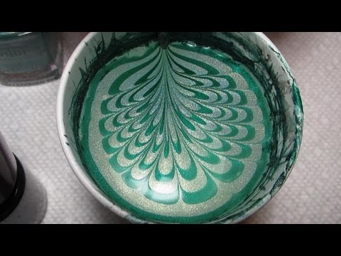 Green Water Marble for Depression Awareness (2012) Nail Art Tutorial