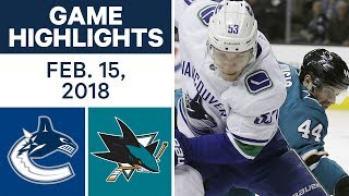 NHL Game Highlights | Canucks vs. Sharks - Feb. 15, 2018