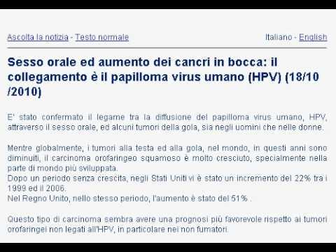 Sesso orale ed aumento dei cancri in bocca: il collegamento è il papilloma virus umano (HPV)