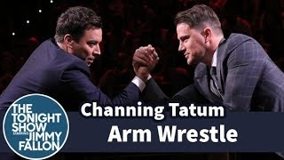 Jimmy Fallon Trash Talks Channing Tatum into Arm Wrestling