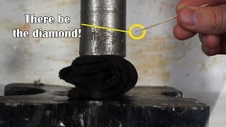 "Can I Turn Graphite To Real Diamond With Hydraulic Press? (April Fools Joke ""diamond"" in microwave)"
