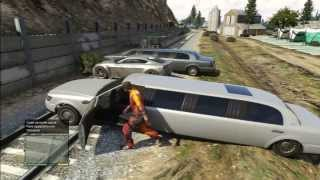GTA 5 LET's PLAY WITH TRAIN LIMO BARRAGE