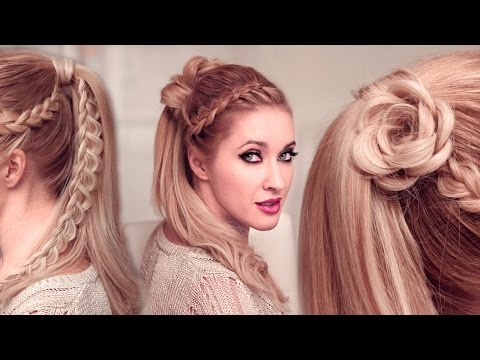 High ponytail hairstyles tutorial for long hair: FLOWER + braided goddess UPDO tutorial
