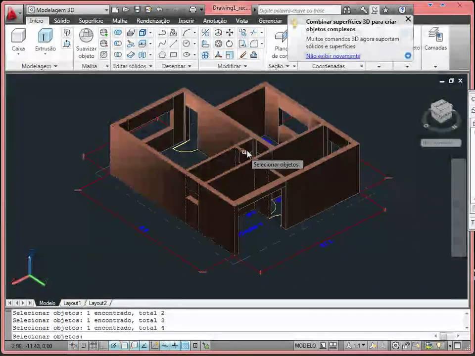 Aula de autocad casa 3d part 2 de 4 youtube for Programma x arredare casa 3d