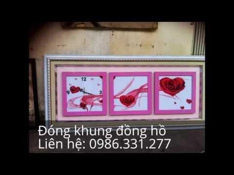 DONG KHUNG TRANH THEU DONG HO - đóng khung tranh thêu đồng hồ ở tại Hà nội giá rẻ