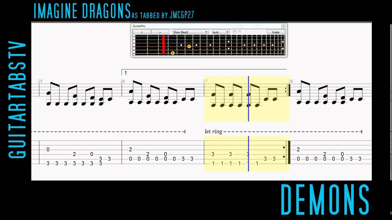 Demons by Imagine Dragons Fingerstyle Guitar Pro Tabs (Arrangement by gmcgp27) - YouTube