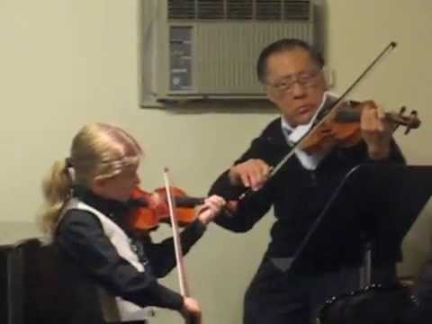 8yo G plays Mozart. Easy Violin Duet #2. School recital April 2014
