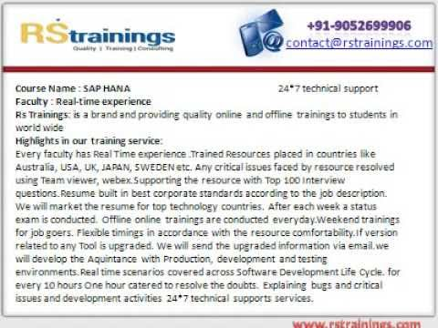 Sap Hana  Online Training in Hyderabad