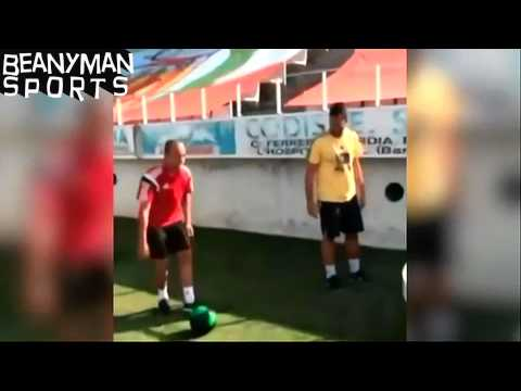 Jordi Alba Playing Awesome Ping Pong Football Game At His Kids Training Camp