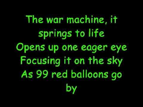 99 Luftballons - 99 Red Balloons: Nena. Lyrics in English ...