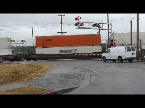 Grabshot of BNSF train at Monroe, WA
