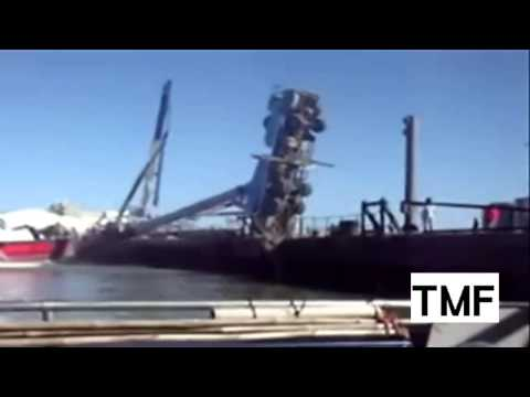 Massive Boat Launch FAIL Crane FAIL)(ship launch)