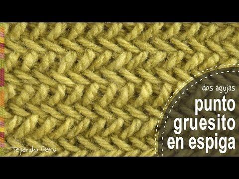 Punto gruesito en espiga tejido en dos agujas o palitos - Tejiendo Perú