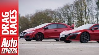 Honda NSX vs Civic Type R drag race: hot Honda family feud. Auto Express.