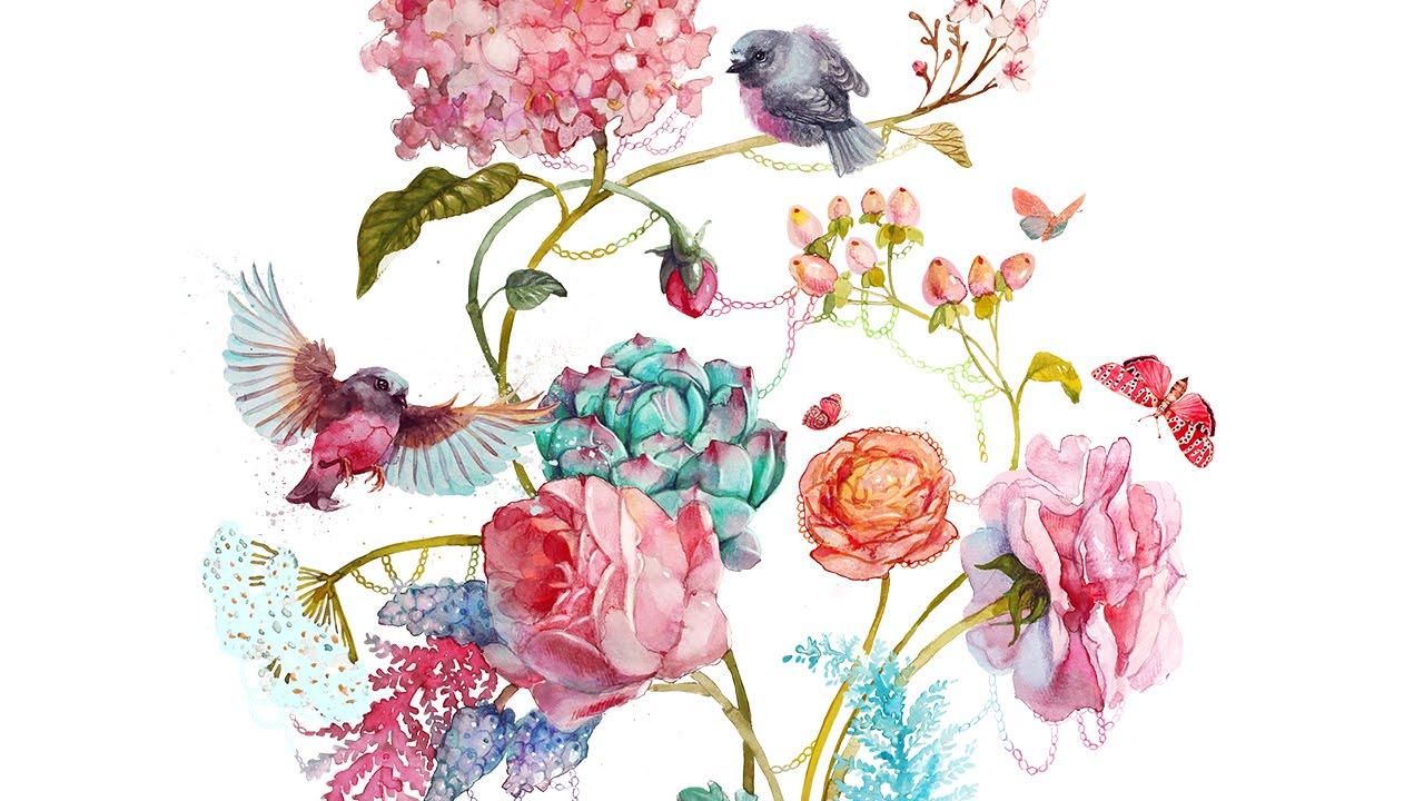Рисунки с цветами акварелью поэтапно