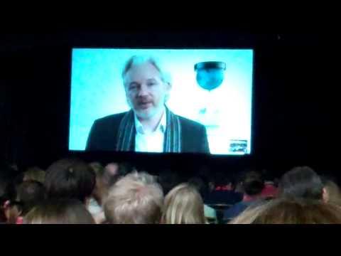 Julian Assange Skyping SXSW from London