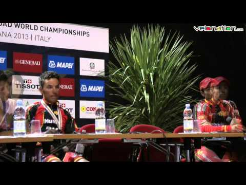 Joaquim Rodriguez and Alejandro Valverde speak after 2013 world road race championships