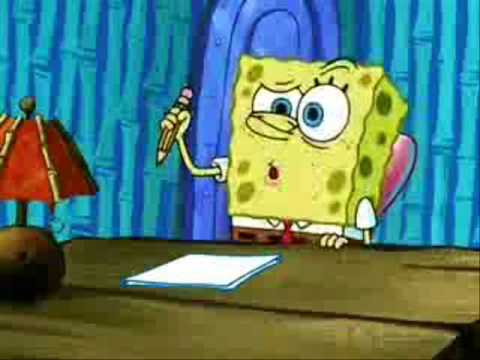 Spongebob writes an essay the