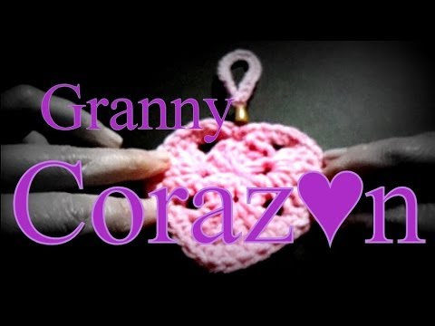 Como tejer un corazn granny al crochet (grannys heart) -tejido para zurdos-