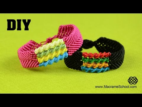DIY Chevron Bracelet with Spiral Stripes - Macramé Tutorial