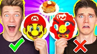 PANCAKE ART CHALLENGE 4!!! Learn How To Make Mario Odyssey Star Wars Jedi Nintendo Food DIY Pancake
