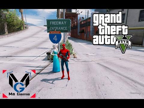 GTA 5 Mod - Spider Man giải cứu Nữ hoàng băng giá Elsa khỏi Cảnh Sát