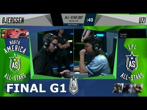 Bjergsen Zoe vs Uzi Kalista | Game 1 Grand Final 1v1 All-Stars 2017 | NA vs CN G1
