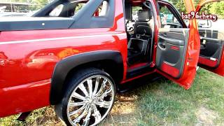 """05 Red Chevy Avalanche On 28"""" Bentchi Rims HD"""