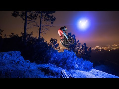 Loic Bruni's Midnight MTB Ride on a Trail lit by a Drone!