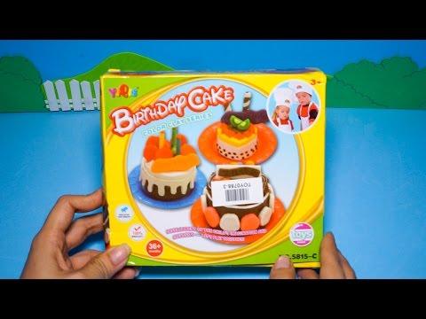 Mở hộp bộ đồ chơi làm bánh kem sinh nhật đủ màu từ đất sét - Bé nặn bánh sinh nhật hình trái tim