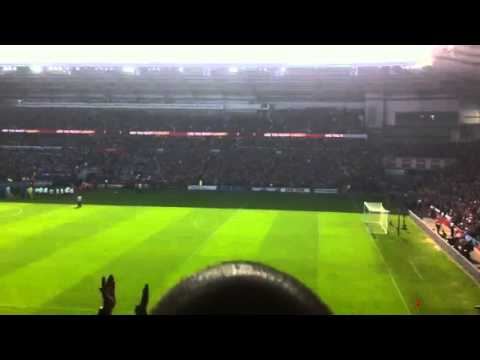 Cardiff city fans singing before man city