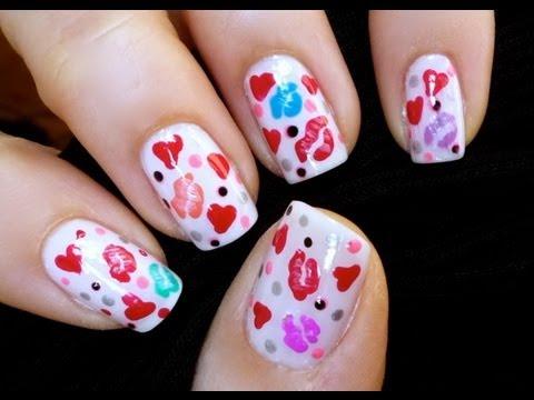 Kisses and Hearts - Nail Art