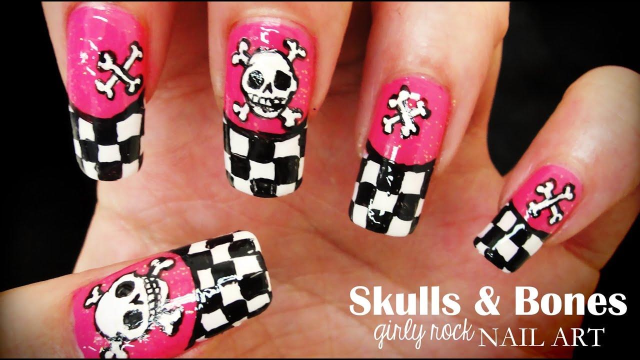 Cute skull nail art trendy skull nails polish and pearls by robin moses nail art quot ana cruz inspired cute view images skulls bones girly prinsesfo Image collections