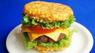 Cách làm HAMBURGER MÌ GÓI - Hamburger mì ăn liền cực ngon - Món Ăn Ngon