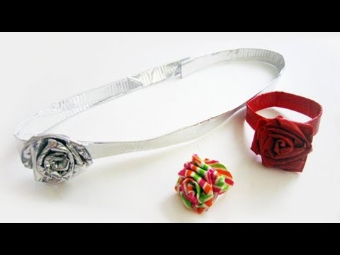 How to make duct tape rose accessories - ring, belt, headband,bracelet,choker