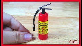 DIY Miniature Fire Extinguisher / Cách làm bình chữa cháy thu nhỏ cho búp bê / Ami DIY