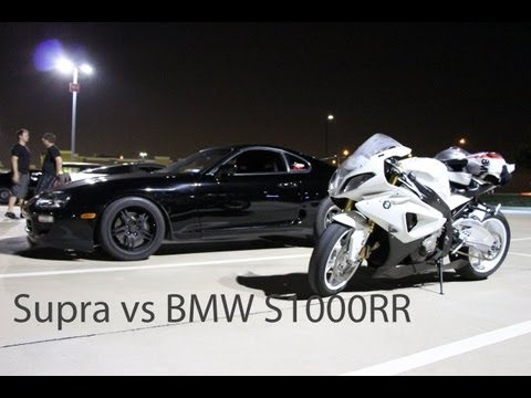 BMW 1000RR vs Toyota Supra on the highway (HD)