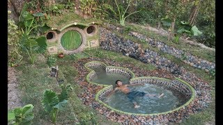 Building A Beautiful Swimming Pool & Secret House Underground Using Bamboo