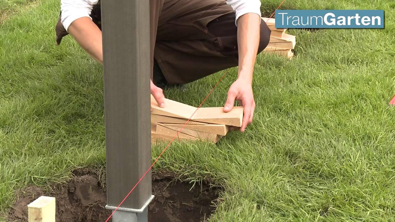 Zaun wpc zaun aufbau leicht gemacht youtube for Maschendrahtzaun bauhaus