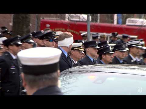 Video: Memorial service for fallen Boston firefighter