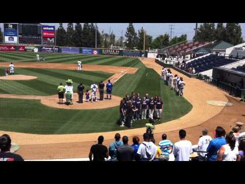 The Amuse Singers Sing the National Anthem at the Rancho Cucamonga Quakes Baseball Game