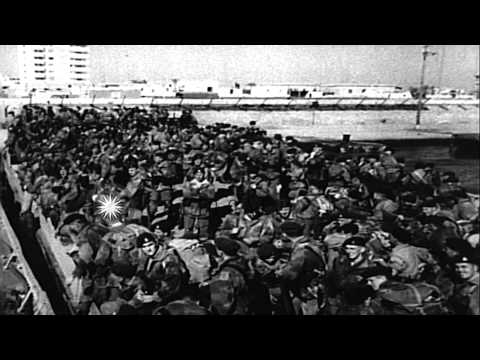 British troops wait at a dock to embark a ship as they withdrawal from Port Said ...HD Stock Footage